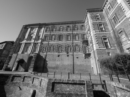 rivoli castle in rivoli in blackandwhite