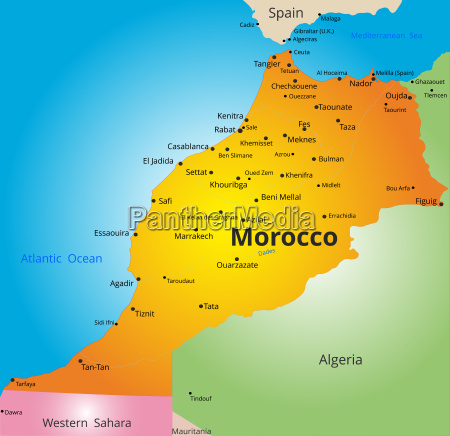 color map of morocco country
