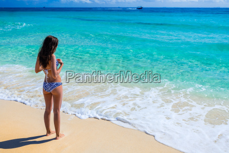 young beautiful woman enjoying at the