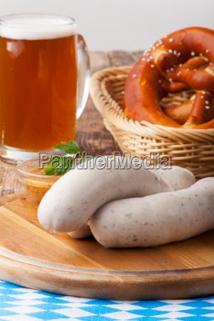 bavarian veal sausage with pretzel