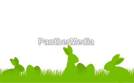easter bunny rabbit silhouette set with