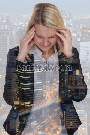 business woman businesswoman stress headache burnout