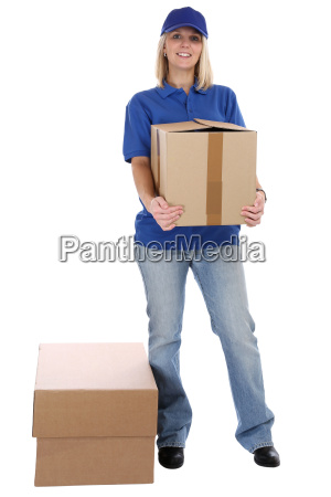 package shipping woman post delivery delivery