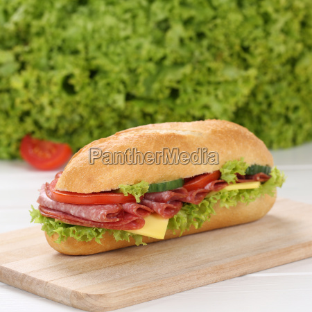 healthy diet sandwich baguette covered with