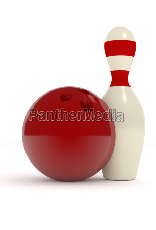 bowling pin with a red ball