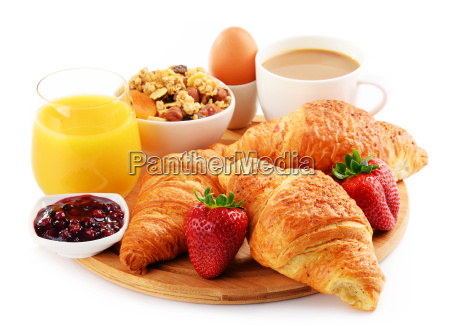 breakfast on the cutting board isolated