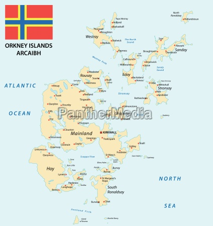 orkney islands map with flag