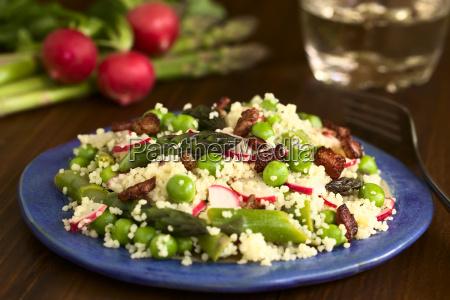 couscous asparagus pea radish bacon salad