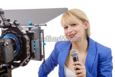 portrait of elegant blonde woman tv
