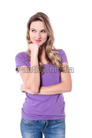 pretty woman feeling shy