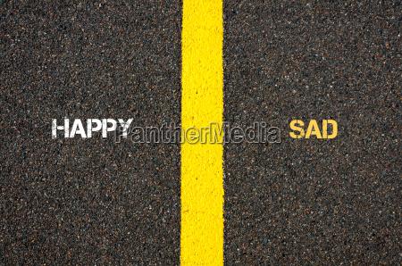antonym concept of happy versus sad