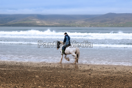 horse and rider on the maharees