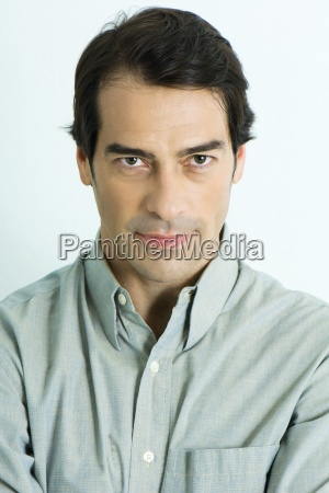 man staring at camera portrait