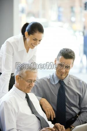mature businessman using laptop computer two