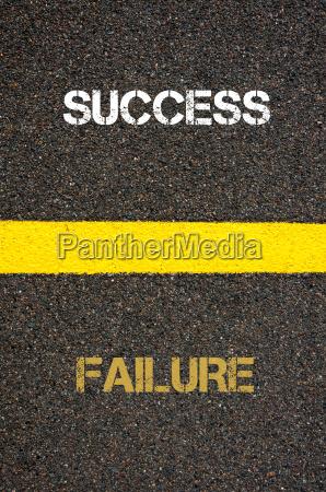 antonym concept of failure versus success