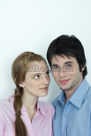 young couple man smiling at camera