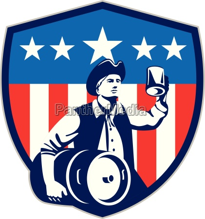 american patriot beer keg flag crest