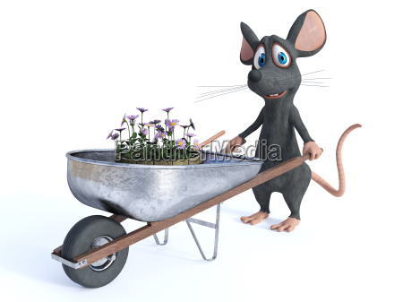 smiling cartoon mouse ready for gardening
