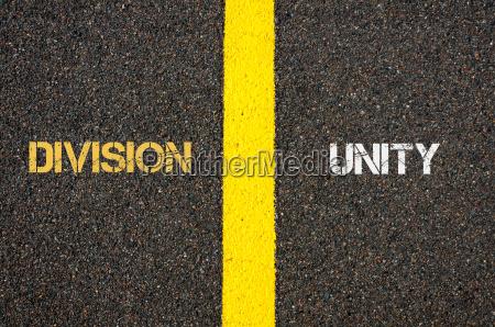 antonym concept of division versus unity