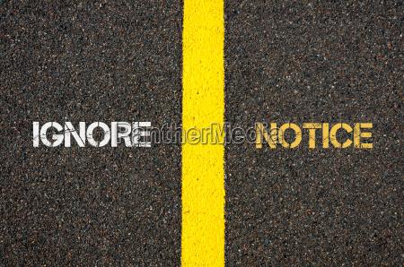 antonym concept of ignore versus notice