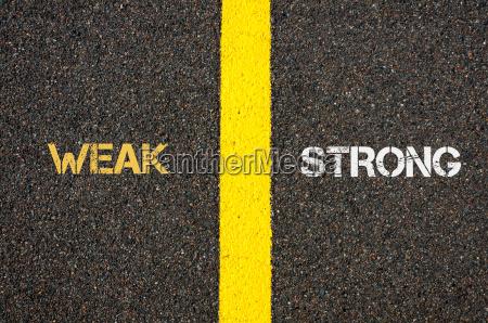 antonym concept of weak versus strong