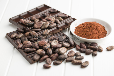 dark chocolate cocoa beans and cocoa
