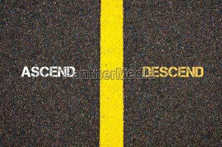antonym concept of ascend versus descend