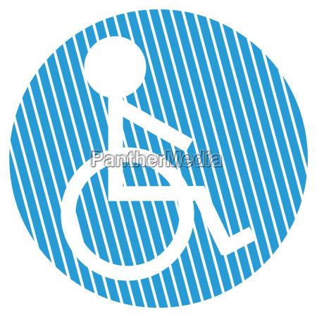 striped circle wheelchair symbol