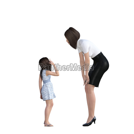 mother daughter interaction of girl explaining