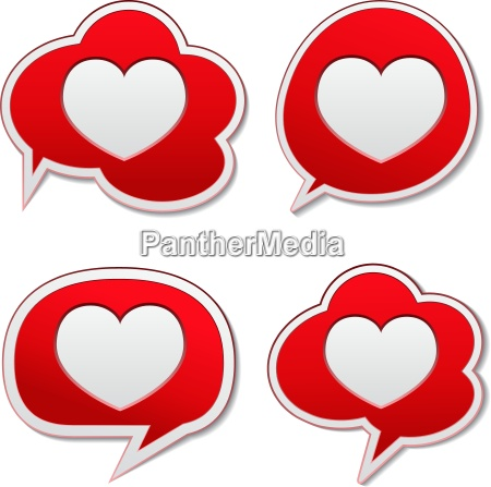 red speech bubbles with heart icon