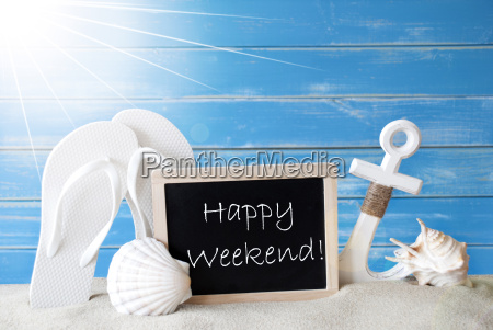 sunny summer card with happy weekend