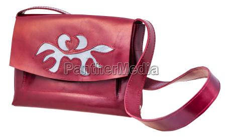 dark cherry color handbag decorated by