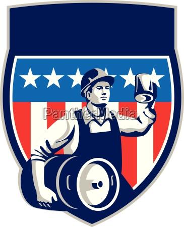 american construction worker beer keg crest