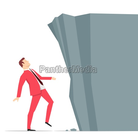 red suit businessman looking at big