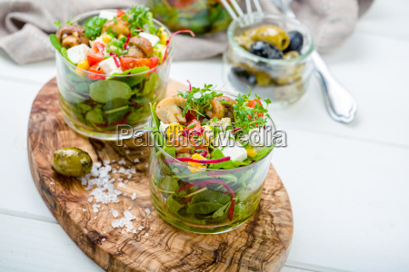 salad in jar with pickled mushrooms