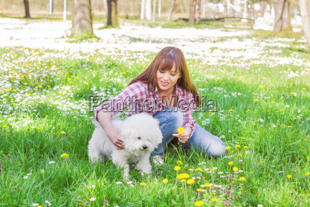 happy woman enjoying nature with her