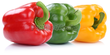 collection paprika peppers vegetables isolated in