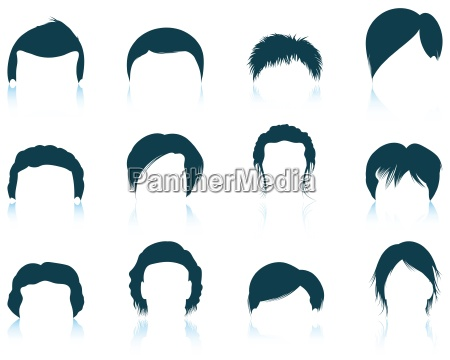 set, of, man's, hairstyles, icons - 16642026