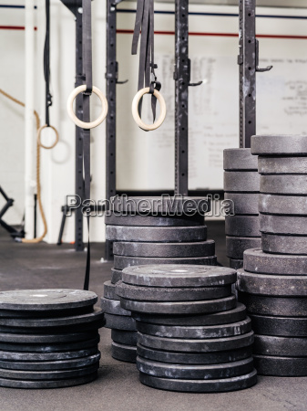 stacks of weights at the gym