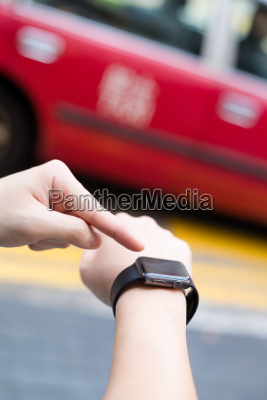 man using wearable watch