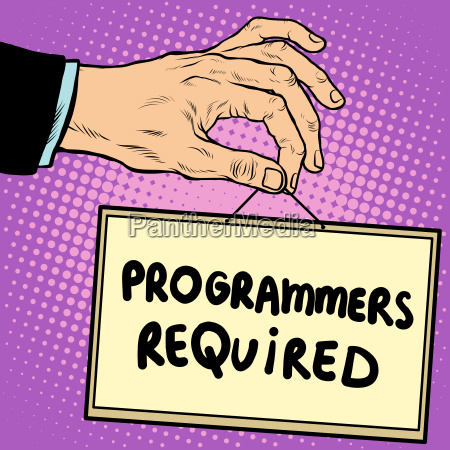 hand holding a sign programmers required