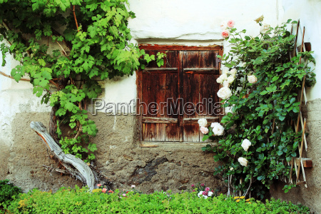 the old windows with wooden shutters