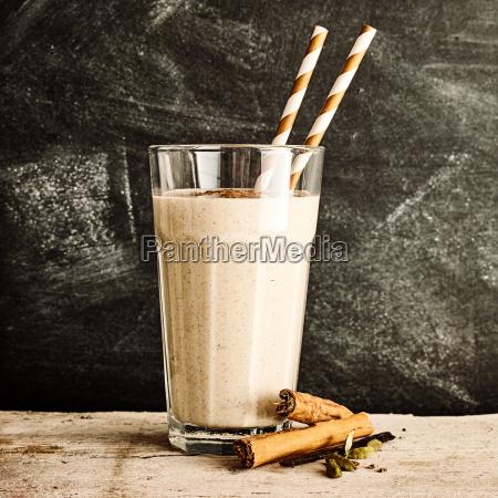single glass of blended cinnamon drink