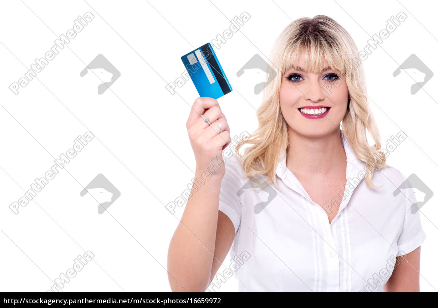 delightful, lady, holding, credit, card - 16659972