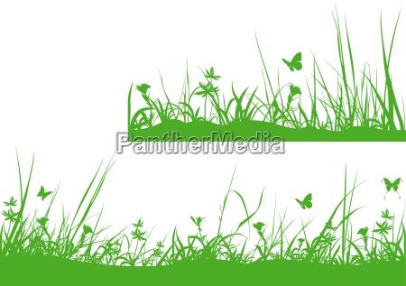 green meadow silhouette