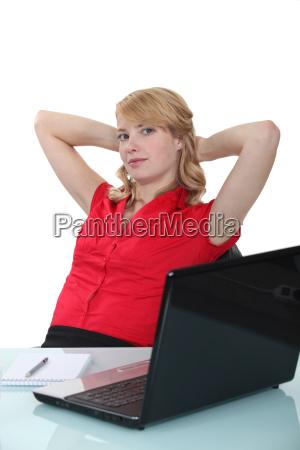 blond woman taking a break