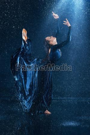 the young beautiful modern dancer dancing