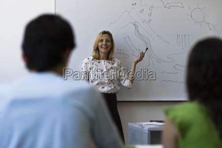 teacher teaching high school class