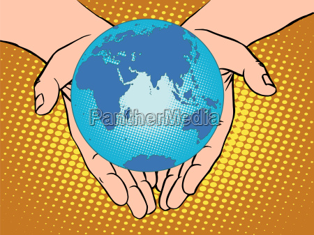 planet earth in hands eurasia africa