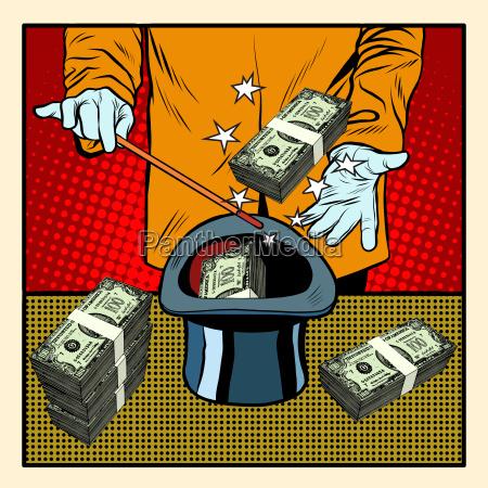 illusionist magic hat money